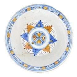 Plato Tricolor Estrella de Plumas de La Encomienda siglo XVII