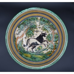 Cerámica española polícroma con Toro Talavera siglo XVIII