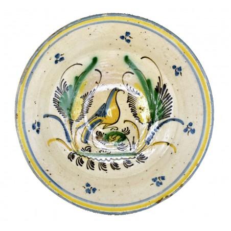 Plato de loza con pajarita siglo XIX