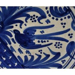 Plato siglo XVII de Helechos y Golondrina corona de palma azul