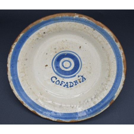 Plato loza Azul de Talavera marcado COFADRIA siglo XVIII