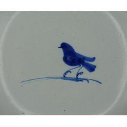 Plato de loza fina con pajarito azul talavera siglo XVIII