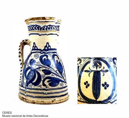 Loza jarro azul de santiago siglo XVI